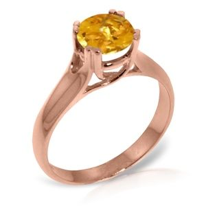 SOLID GOLD SOLITAIRE RING WITH NATURAL CITRINE